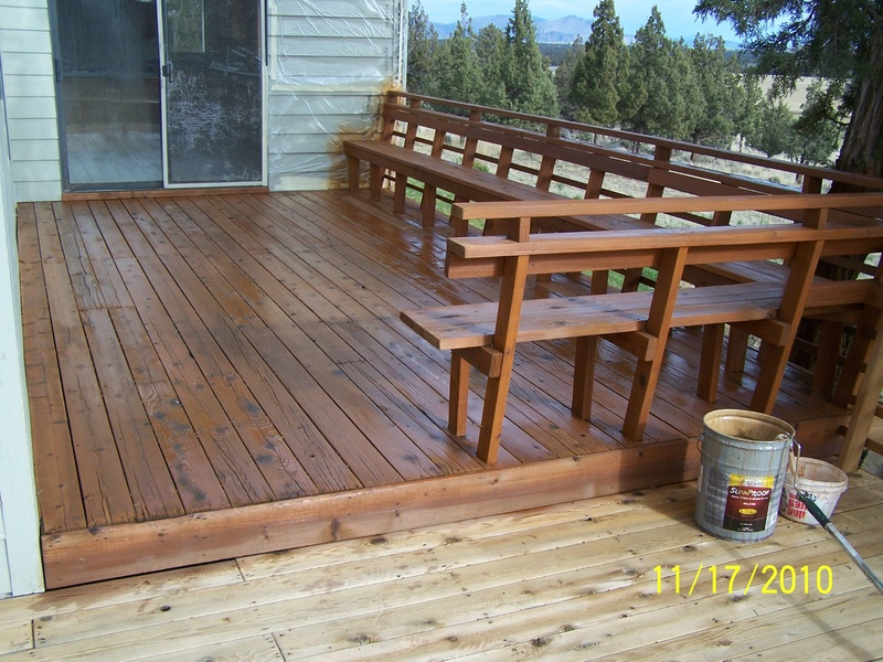 Upper deck stained with semitransparent and ready to stain lower deck.